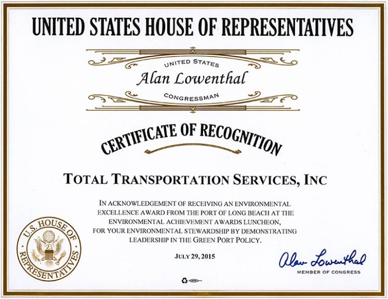 United States House of Representatives, Congressman Alan Lowenthal recognizes TTSI for receiving the 2015 10 Years of Environmental Excellence Award.