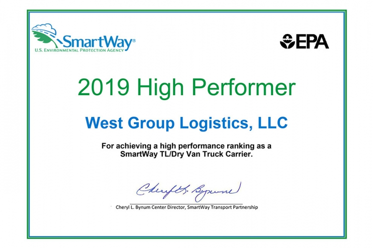 TTSI's West Group Logistics division was awarded 2019 High Performer by SmartWay, for achieving a high-performance ranking as a SmartWay TL/Dry Van Truck Carrier.