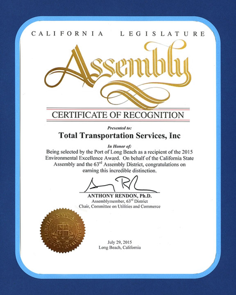 California State Assembly honors TTSI for receiving the 2015 10 Years of Environmental Excellence Award.