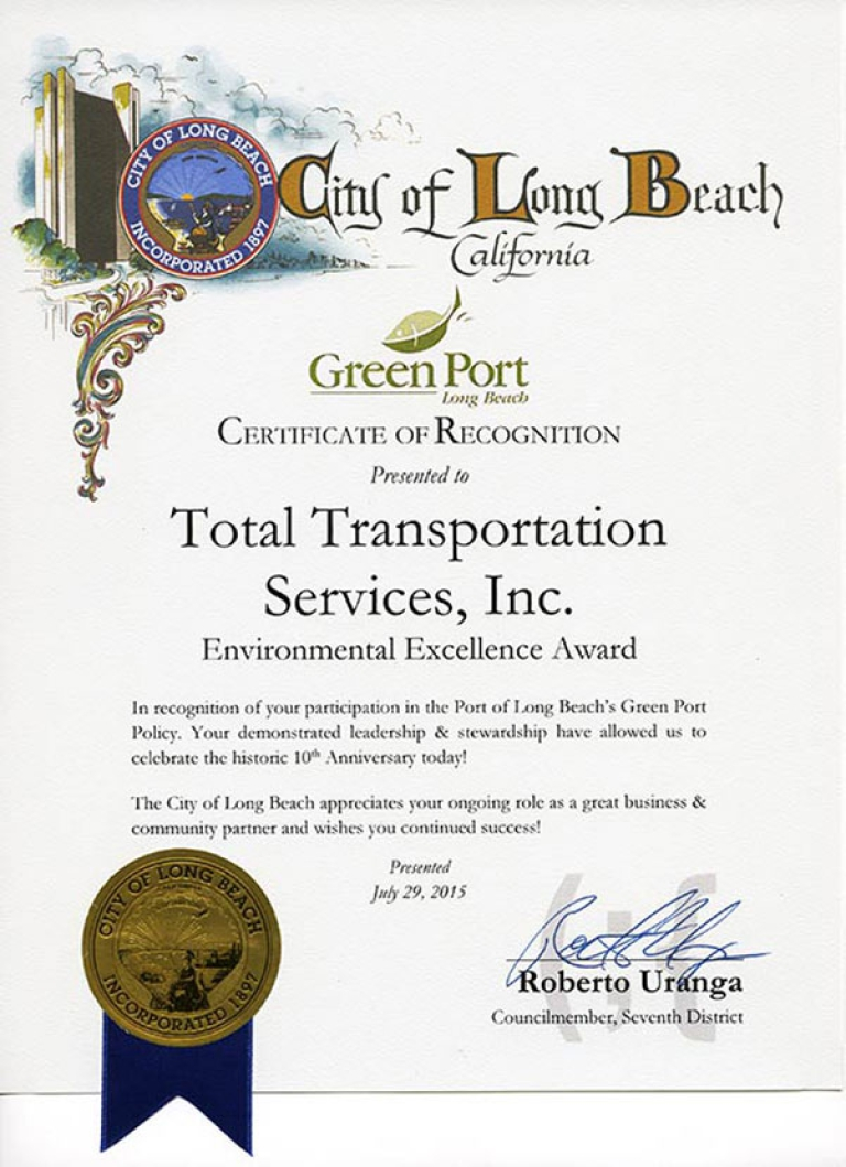 City of Long Beach Green Port recognizes TTSI for receiving the 2015 10 Years of Environmental Excellence Award.