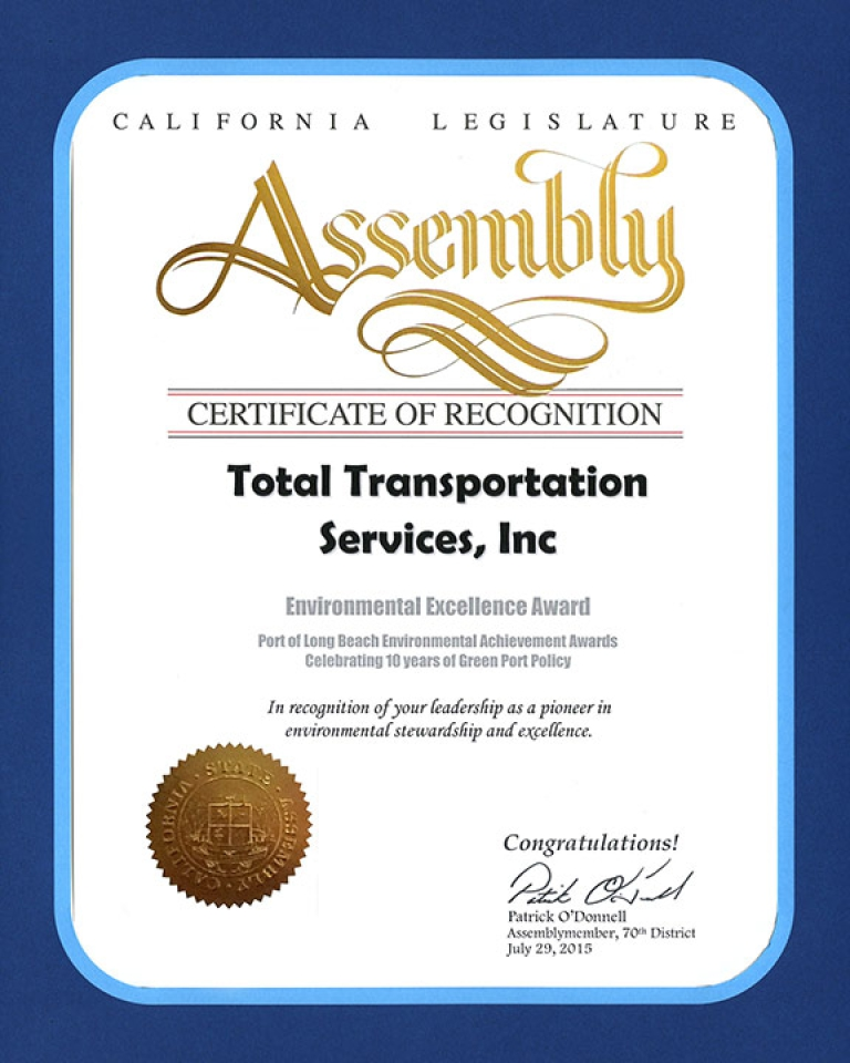 California State Legislature Certificate of Recognition for leadership as a pioneer in environmental stewardship and excellence, for receiving the 2015 10 Years of Environmental Excellence Award.