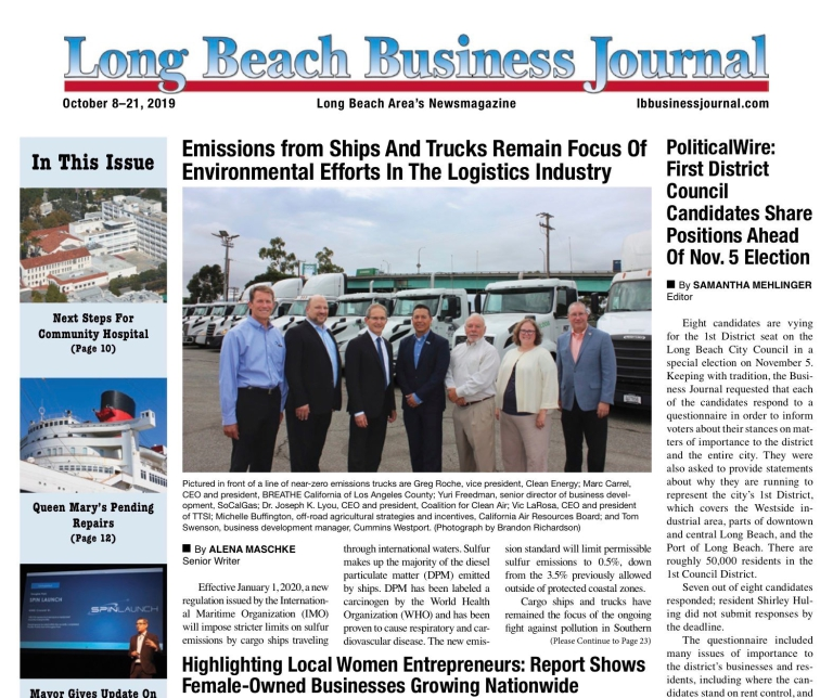 Long Beach business journal front page