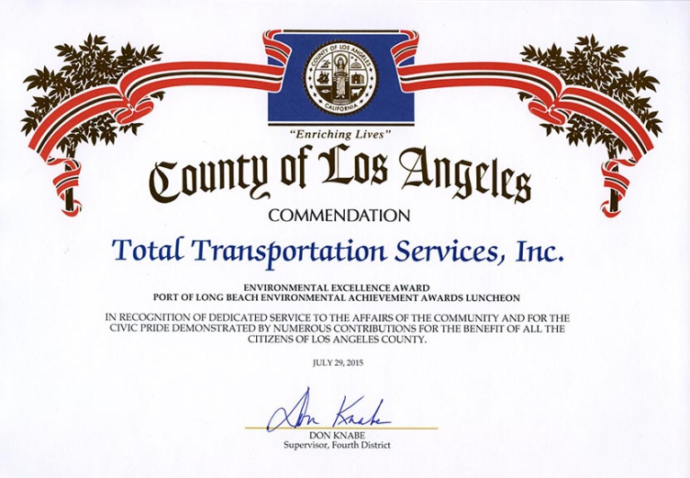 Los Angeles County Supervisor 4th District, Don Knabe, commends TTSI for receiving the 2015 10 Years of Environmental Excellence Award