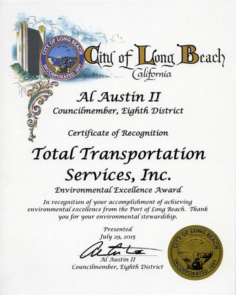 Long Beach City Council Member 8th District, Al Austin II, recognizes TTSI for receiving the 2015 10 Years of Environmental Excellence Award.