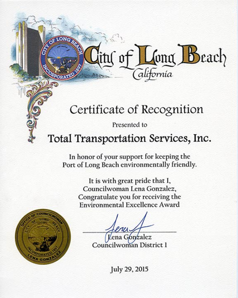Long Beach City Councilwoman 1st District, Lena Gonzalez, congratulates TTSI for receiving the 2015 10 Years of Environmental Excellence Award.